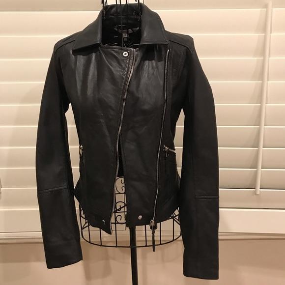 55ba976c9 Zara Women's Black Genuine Leather Biker Jacket XS NWT